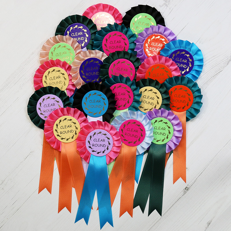 clear round 20 x 1 tier rosette pack darlow rosettes