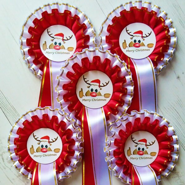 Reindeer themed rosettes